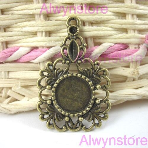 6pc antiqued bronze hollow flower cabochon setting G45
