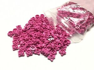 Lego Lot of 5 New Magenta Plates Round 1 x 1 with Flower Edge 4 Knobs Parts