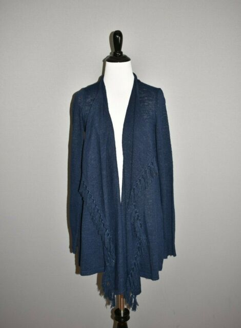 LILLY PULITZER NEW $128 Navy Lucita Fringe Open Cardigan Medium