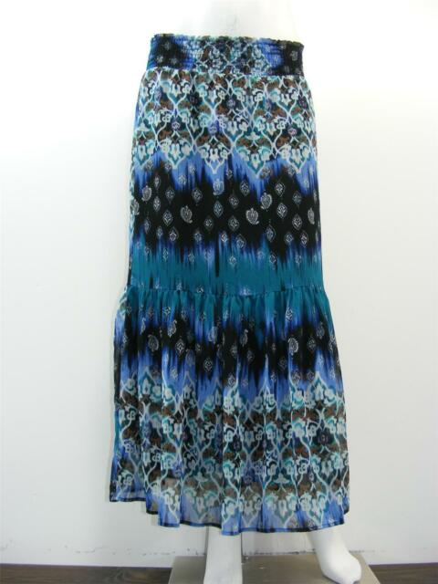 6442af80e CATO Multi-Color Crinkle Poly Tiered Peasant LINED Long Skirt, Sz 14 - W30