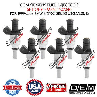 Set Of 6 OEM Siemens Fuel Injectors for 1999-2000 BMW 323i 2.5L #1427240
