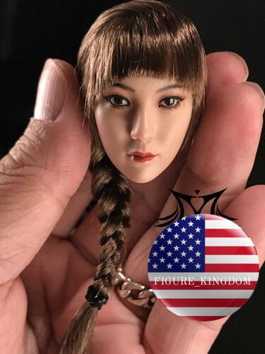 "1//6 Female Head Sculpt Single Braid For 12/"" PHICEN VERYCOOL PALE Female Figure"