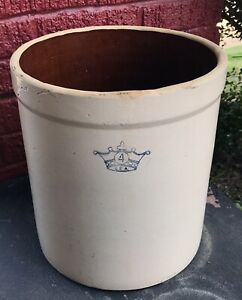 Vintage-Antique-Stoneware-4-Gallon-Crock-Large-Beige-Crown-LOCAL-PICKUP-ONLY