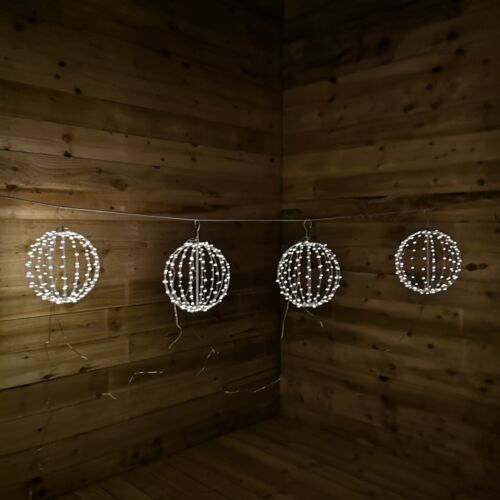 4pc 30cm Metal Ball Pin Wire Light with 640 Warm White LED
