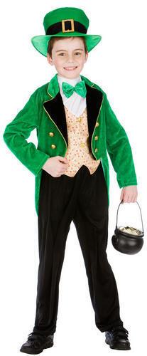 Irlandese LEPRECHAUN CAPPELLO ABITO FANTASIA RAGAZZI St Patrizio Kids Bambino Costume Outfit