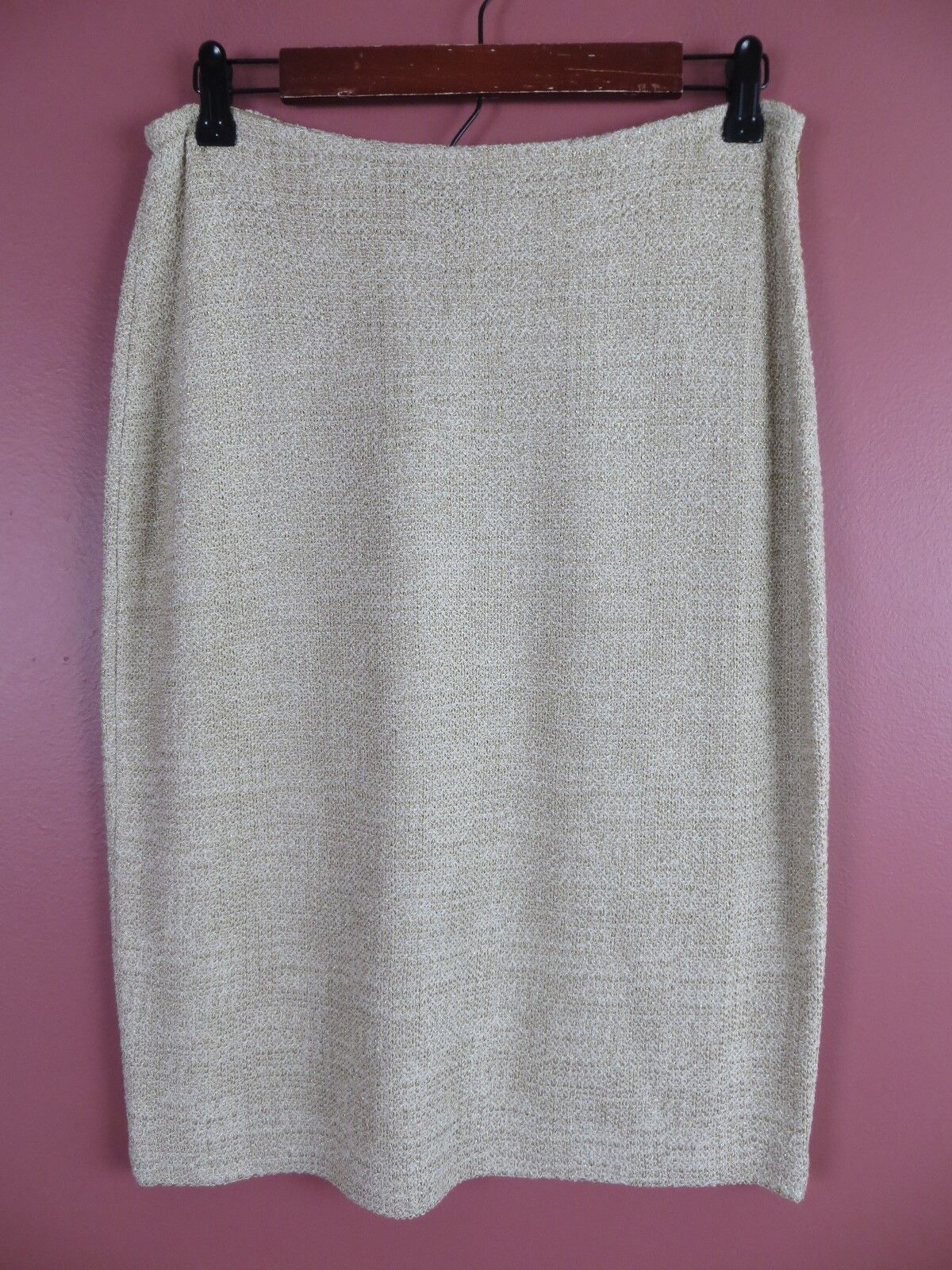 SK12485-NEW LAFAYETTE 148 NY Womens Stretch Knit Pencil Skirt Dried Hay Sparky 8