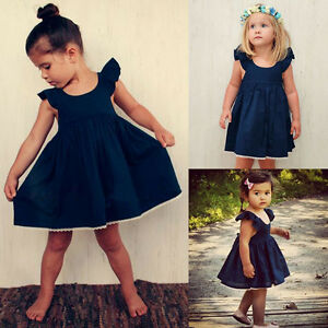 Baby-Kids-Girls-Ruffles-Sleeveless-Dress-Wedding-Party-Princess-Tutu-Dress-AU