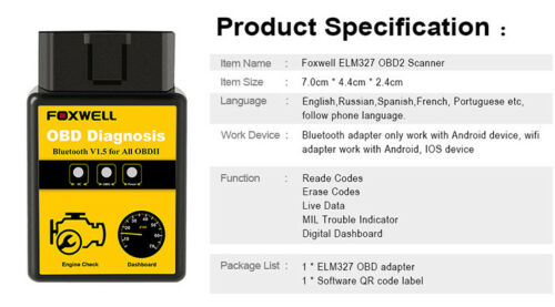 FOXWELL ELM327 OBD2 Bluetooth Car Diagnostic Scanner Tool Android Fits ISUZU