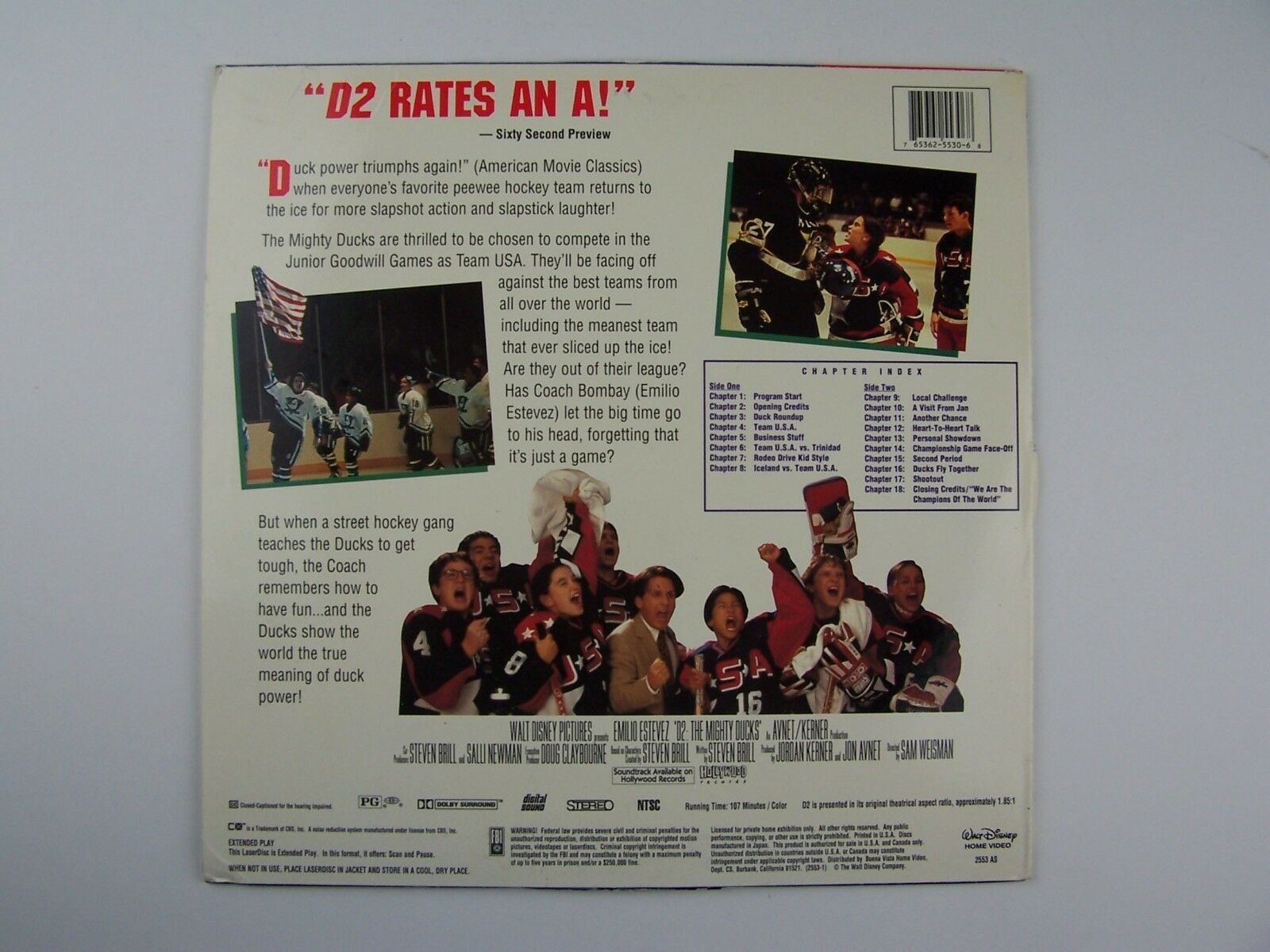 D2: The Mighty Ducks 2 LaserDisc LD 1994 2553 AS