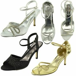 Señoras para mujer sandalias GATITO TALÓN NUPCIAL Zapatos Stiletto Diamante Fiesta Prendas para club nocturno