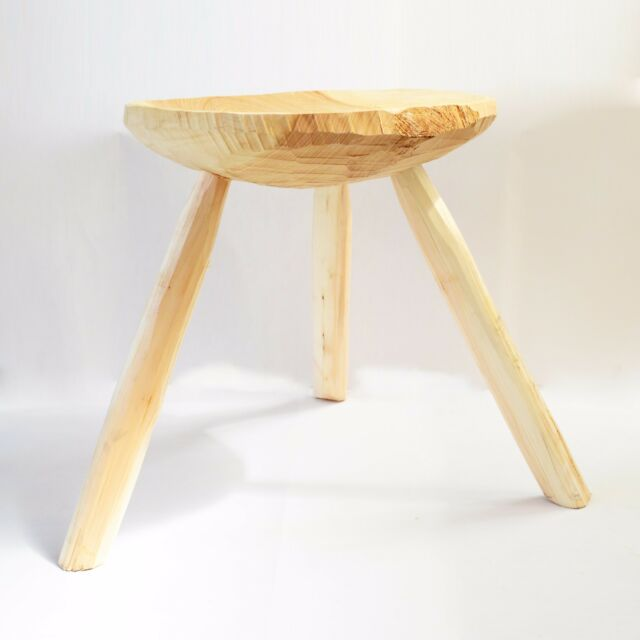 Traditional unique handmade wooden small stool rustic shabby chic primitive seat