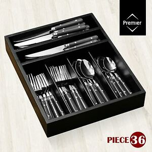 36 piece cafe cutlery set stainless steel knives forks spoons teaspoons tray ebay - Knives and forks sets ...