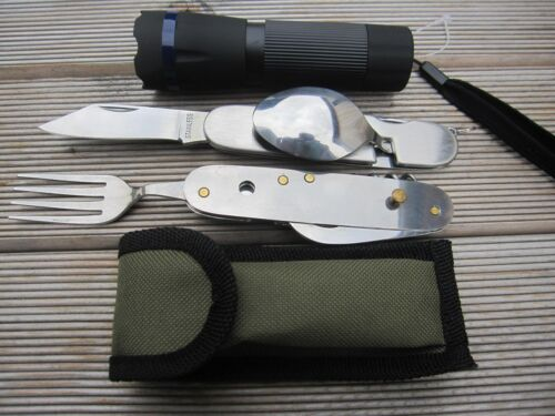 OutdoorSet Pliante PELLE HACHE couteau scie Zoom Lampe de poche Cuillère ouvre-Fourche