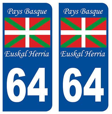 Bright 2 Immatriculation 64 Pyrenees Atlantique Pays Basque Departement Autocollant Auto, Moto – Pièces, Accessoires