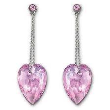Swarovski crystal wedding dress Nectar pink Pierced Earrings free fast shipping