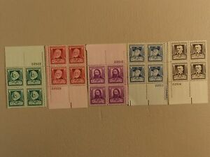 USPS Scott 864-68 American Poets 1940 Lot Of 5 Plate Block 20 Stamps Mint NH
