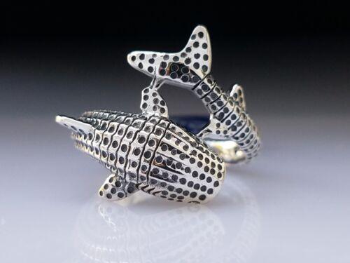 3D Requin Baleine Wrap Sterling Silver Ring par Peter Stone unique Fine Jewelry