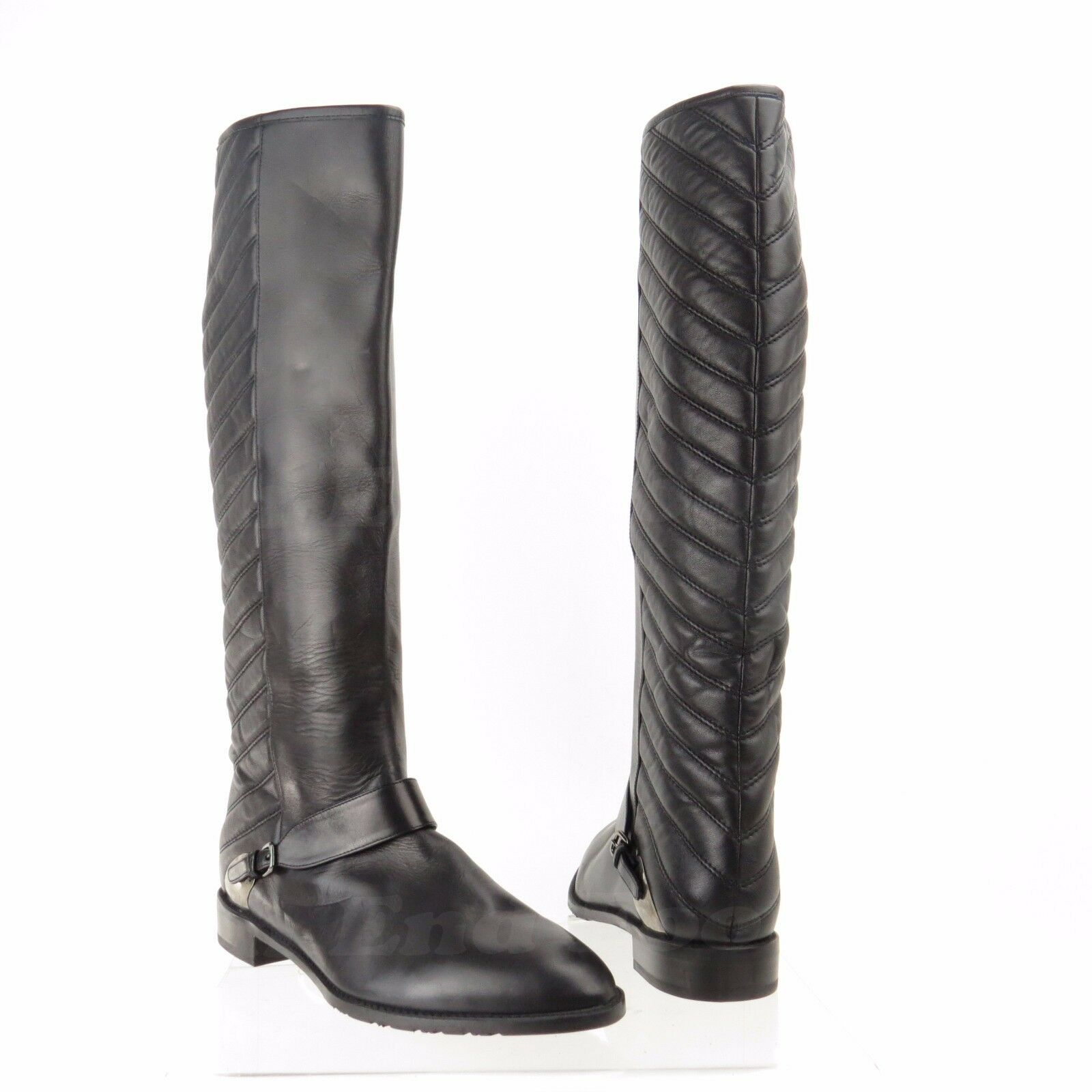 Stuart Weitzman Raceway Women's shoes Black Leather Boots Size 9.5 M NEW   695