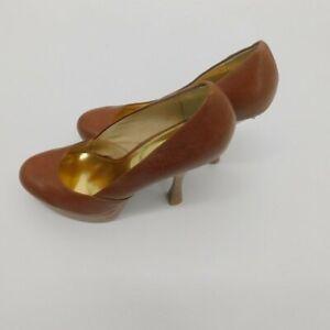 MICHAEL-Michael-Kors-Leather-Platform-Pumps-Women-039-s-size-10-M-brown