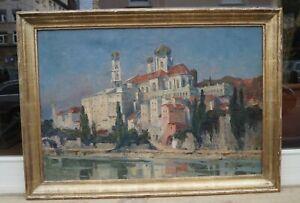 Theodor-Walz-1892-1972-Passau-Blick-vom-Inn-auf-Altstadt-Renzrahmen