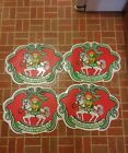 00 Vintage Set of 4 Table Placemats Holiday Wishes Bear On Rocking Horse Town