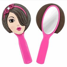 Trendy Girls Doll Face Hand Held Vanity Mirror - Brunette - Unique Gifts for Her