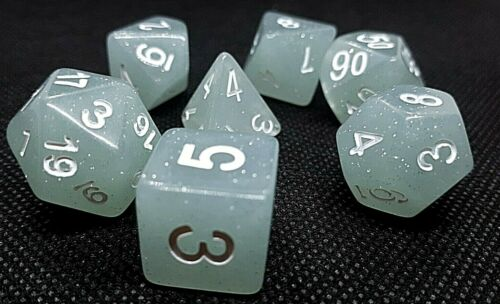 Dice 4 Friends cubo RPG 7 Set polyedrisch DND Tabletop CREAMY GRIGIO GLITTER HD