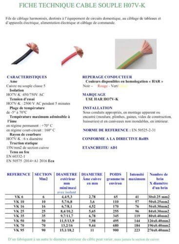 Câble de démarreur souple 2 cosses 16 mm2  40 cm