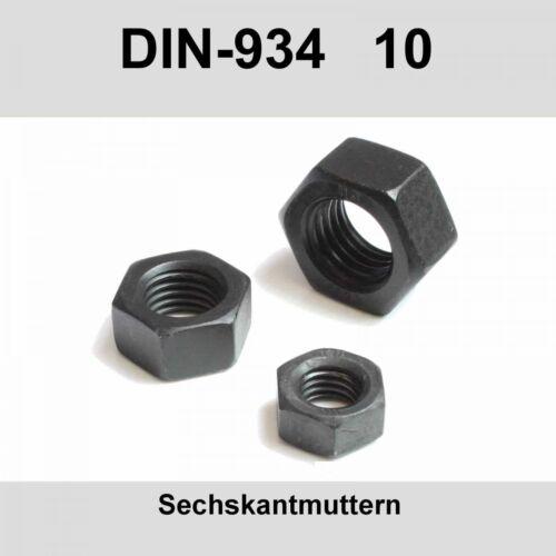 Sechskantmuttern Stahl blank Muttern Sechskant-Mutter 20-500St M6 DIN 934-10 10