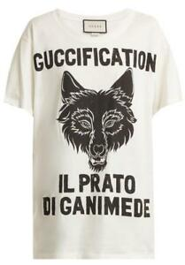 1ec380548 NEW GUCCI GUCCIFICATION WOLF HEAD PRINTED COTTON T-SHIRT TOP S/SMALL ...