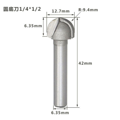 """1//2/"""" 1//4/"""" Shank 2 Flute Round Bottom Router Bits Milling Cutter For Woodwork"""