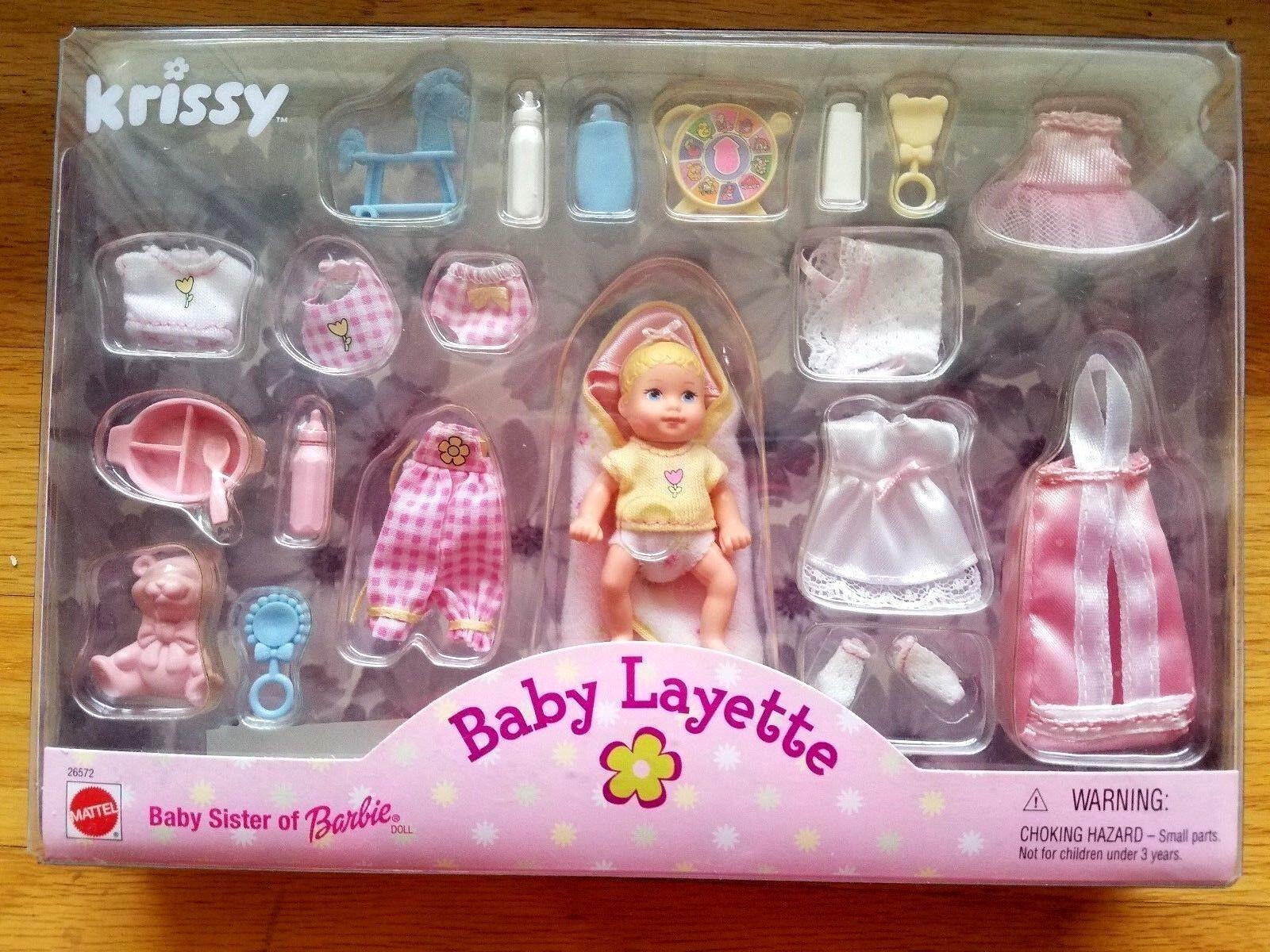 1999 Krissy Hermana De Barbie Bebé Layette 26572 Sellado nunca quitado de la caja