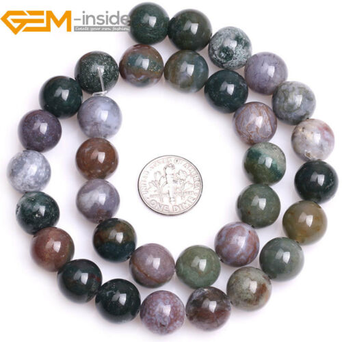 Natural Gemstone Indian Agate Round Loose Beads For Jewellery Making Strand 15/""