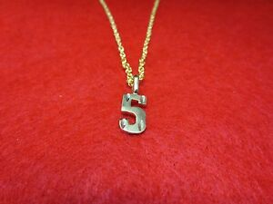 """14KT GOLD EP NUMBER /""""5/"""" DIAMOND CUT CHARM"""