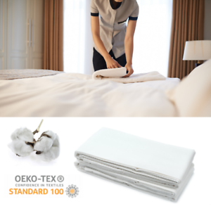 Hotel-Bettlaken-ohne-Gummizug-160x220-cm-mit-Falten-Betttuch-Laken-Baumwolle