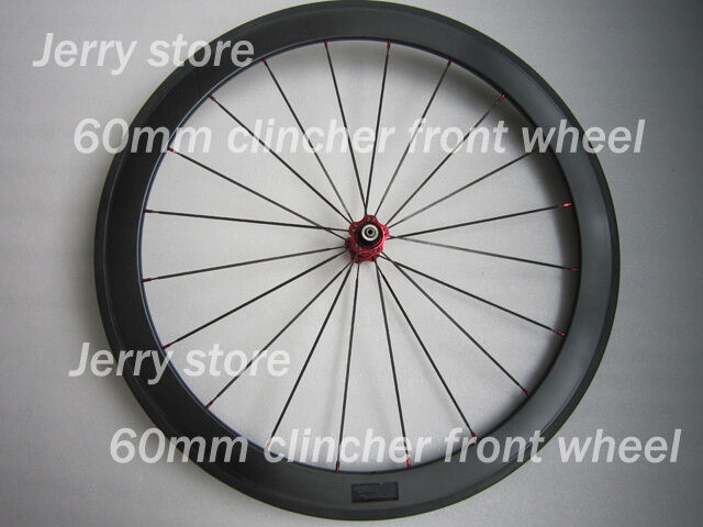 60mm deep carbon road bicycle clincher wheels front wheel only 700C 25mm width