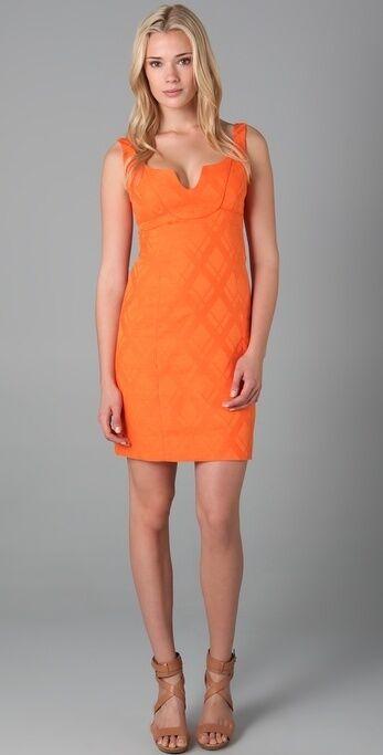 NWT- Milly Lindy Cotton Jacquard Diamond Print Dress, Cantaloupe - Größe 12