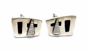 Vtg-1950s-60s-Modernist-CHARLES-LESLIE-SMITH-Sterling-Silver-ABSTRACT-Cufflinks