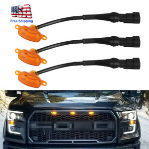 3PCS-For-2015-17-Ford-F-150-4-Door-Raptor-Style-Bumper-Grille-Amber-LED-Lights