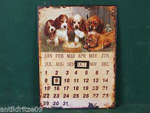 Kalender-Blechschild-Magnet-Dauerkalender-Wandkalender-Hunde-mit-Aufhaenge-Osen