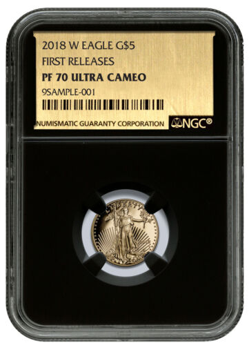 2018-W 1//10 oz Gold American Eagle Proof $5 NGC PF70 UC FR Black//Foil SKU53084