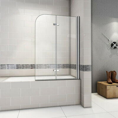 180 Hinge Chrome 2 Fold Bath Shower Screen Door Panel 6mm Nano