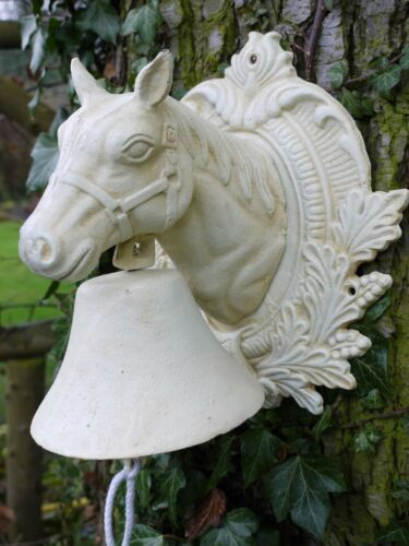Vintage style Cream Heavy Cast Iron Metal Ornate Wall Door Gate Bell Horse Farm