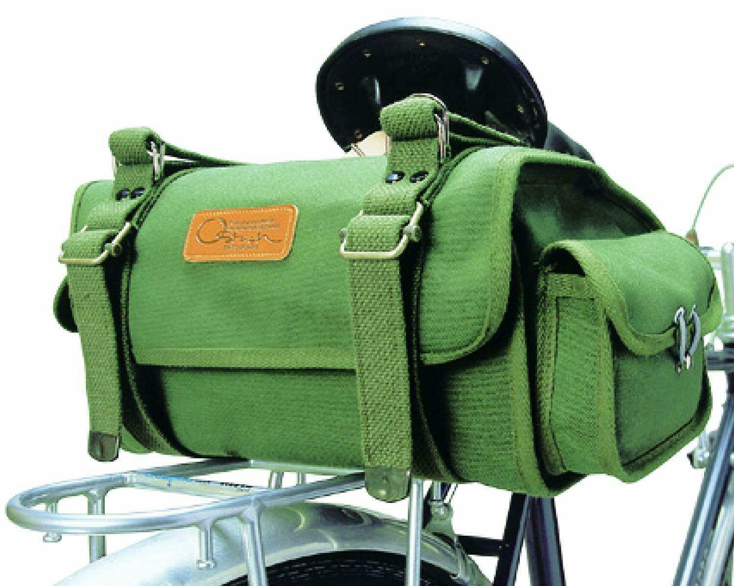 Ostrich Bicycle Saddle Bag S2 verde Cotton Canvas No. 6 Made in Japan FS