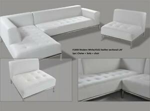Details about Modern contemporary white Leather Sectional chaise + sofa  +ottoman 3pc set #1008