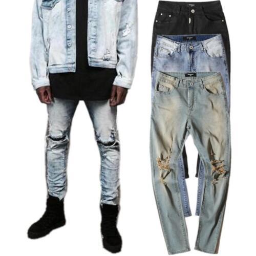 Mens Harley pants Jean biker Denim ripped jeans Slim Fit Biker Distressed splash