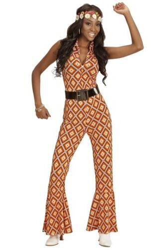 70/'s Disco Diva Vintage Groovy Jumpsuit Rhombus Ladies Fancy Dress Costume S-L