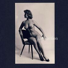 #43 RÖSSLER AKTFOTO 14x9 NUDE WOMAN STUDY * Vintage 50s RPPC Chair Design Stuhl