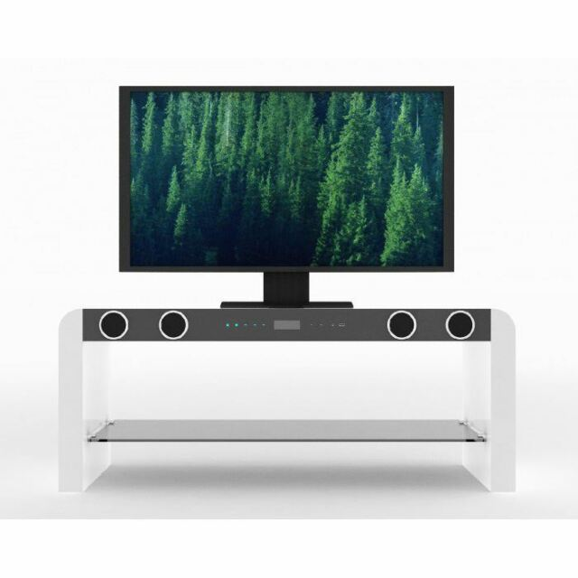 White Gloss Tv Stand Unit With Built In Bluetooth Speakers Usb Music Play