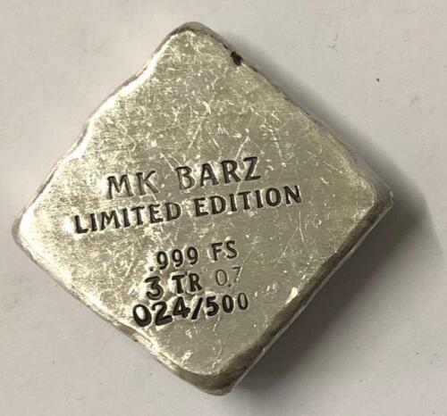 """3 Troy Oz MK BarZ /""""Hamsa/"""" Limited Ed Stamped Chunk .999 Fine Silver"""
